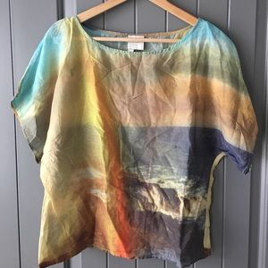 Anthropologie ocean sunset blouse